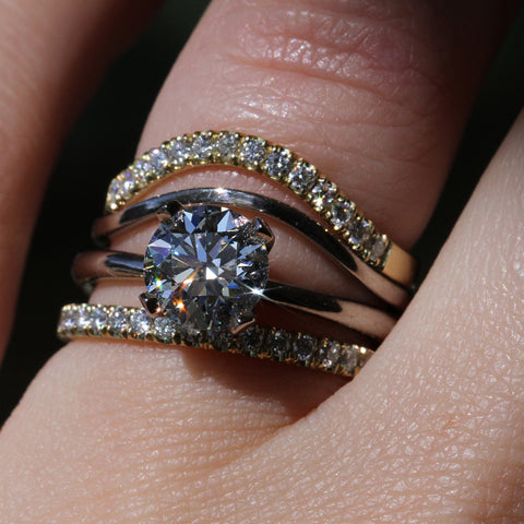 Lily Prong Diamond Solitaire with Diamond Splash Band Arch Band and French Set Eternity