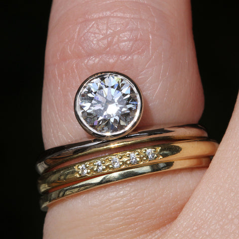 Off Set Bezel with Oval Diamond Band and Slim Band