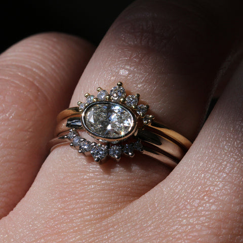 Oval Bezel Solitaire with Curved Shared Prong Diamond Bands