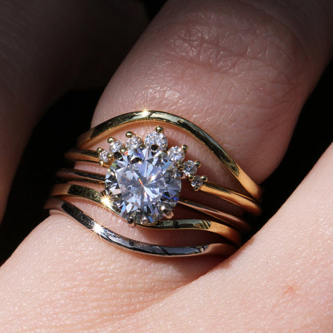 Six Prong Solitaire with Wedding Band Stack
