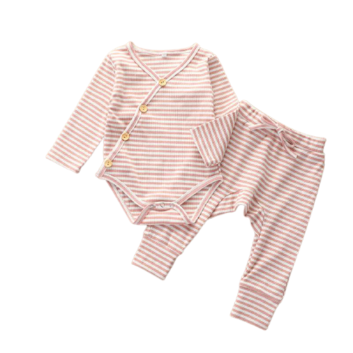 two piece baby girl matching ribbed set pink