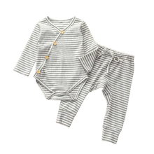Load image into Gallery viewer, two piece gender neutral baby matching ribbed set grey