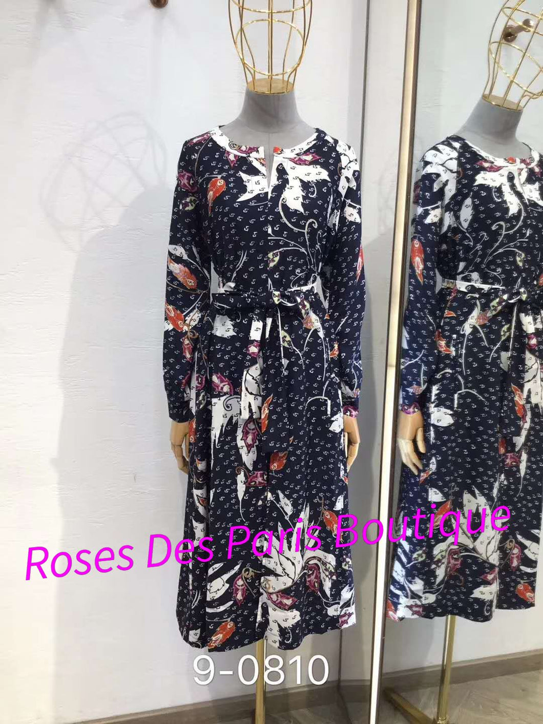 Batik Print Long Sleeves Dress