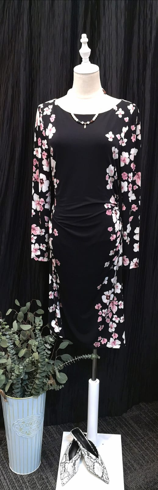 Elegant Floral Print Long Sleeves Fitted Dress