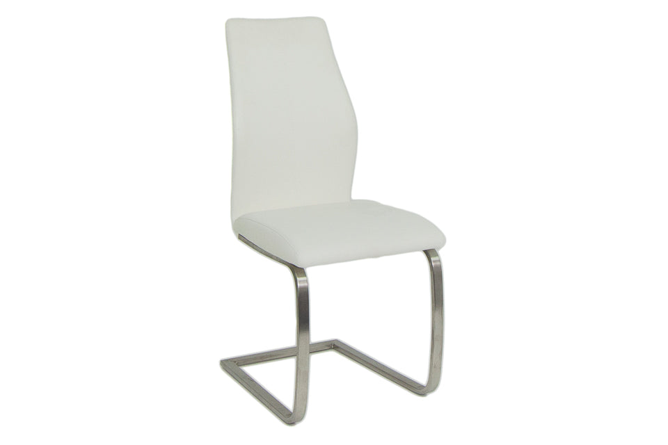 Imro Dining Chair Brushed Steel White