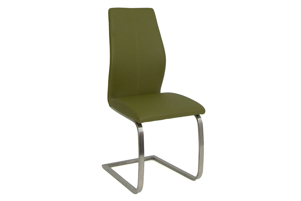 Imro Dining Chair Brushed Steel Olive
