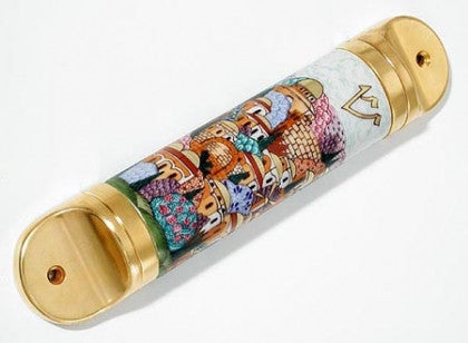 Hand painted Jerusalem Mezuzah