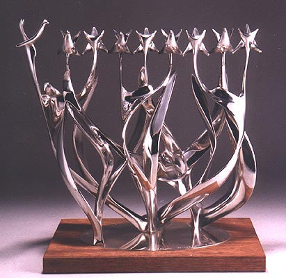 "Chanukah Menorah sculpture -""dancing flames"""