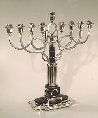 Sterling Silver and Lapis Chanukah Menorah