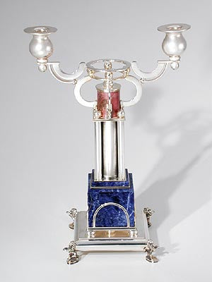Silver and semi-precious stone Candlesticks