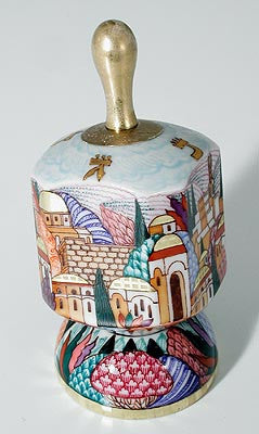 Hand painted Jerusalem Dreidle