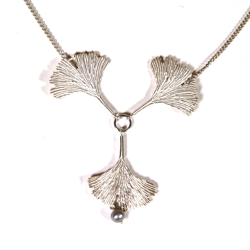 Three Silver Ginkgo Leaves Necklace