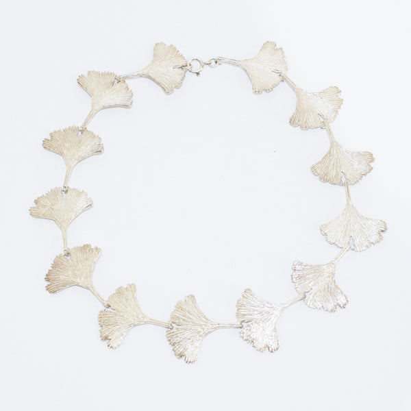 Full Silver Ginkgo Leaves Necklace