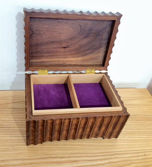 Walnut Fluted Jewellery Box