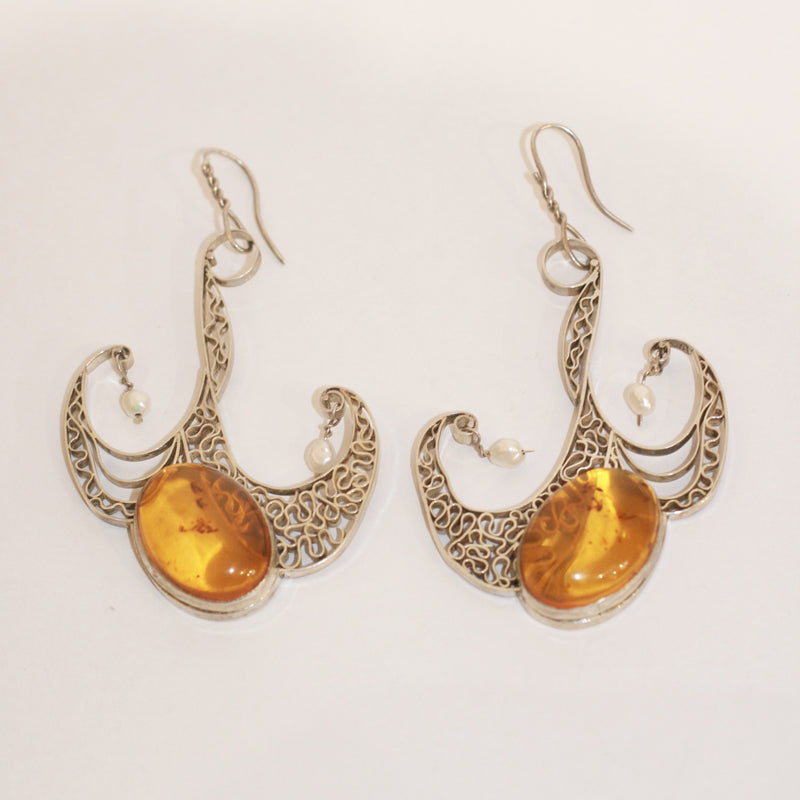 Amber and Pearl Earrings - No. 47