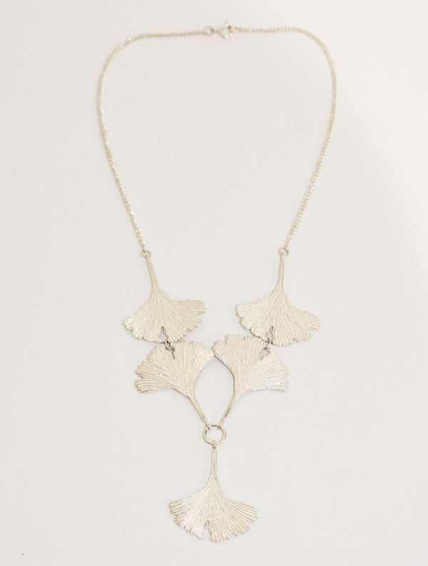 Five Silver Ginkgo Leaves Necklace