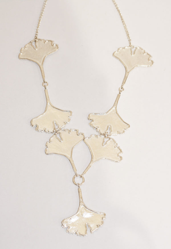 Seven Silver Ginkgo Leaves Necklace