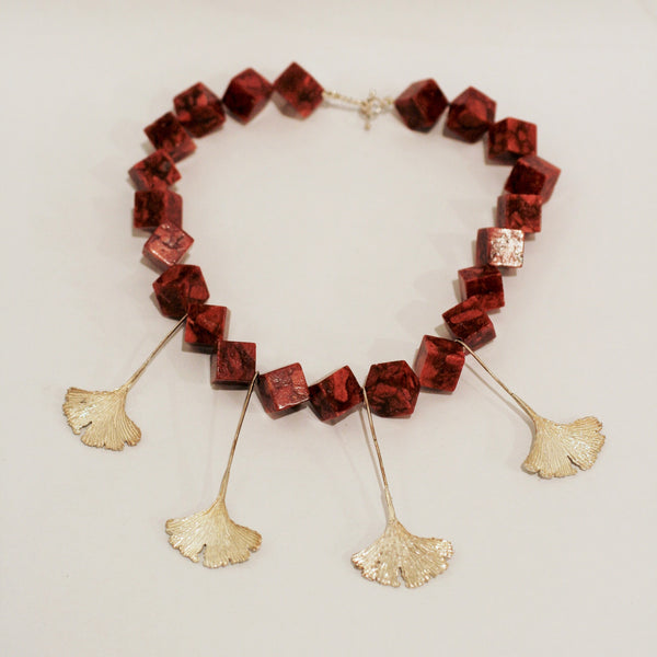 Ginkgo Leaf and Coral Necklace
