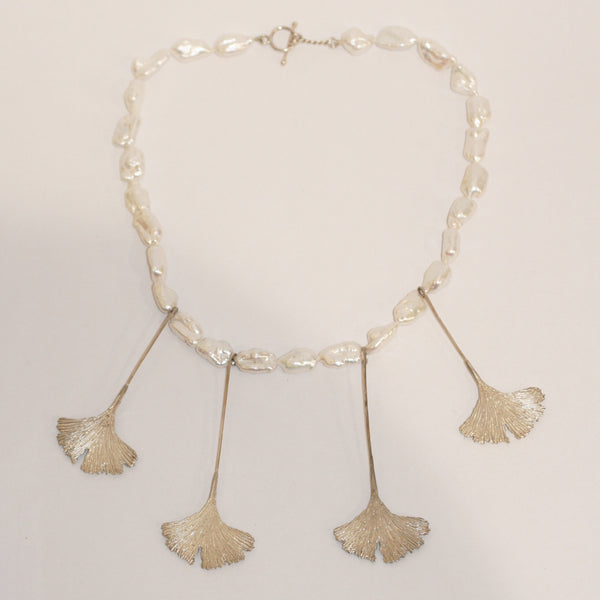 Ginkgo Leaf and Baroque Pearls Necklace