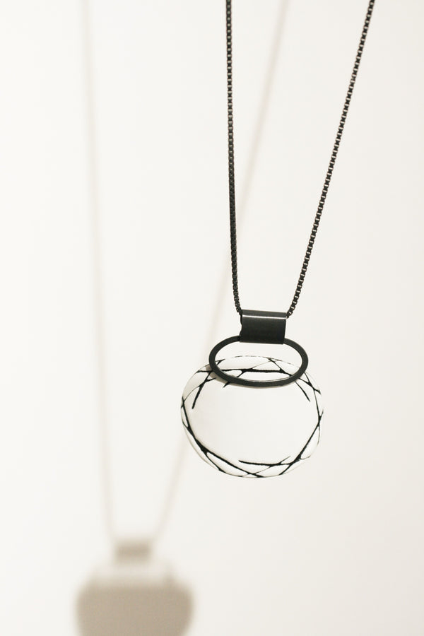 Enamel Scribble Marked Pendant
