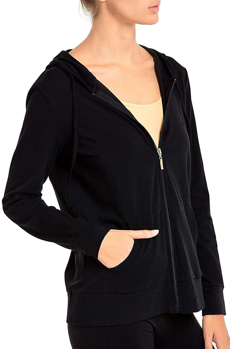 L, Olive Sofra Women/'s Thin Cotton Zip Up Hoodie Jacket