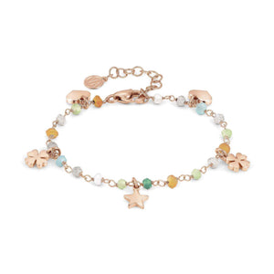 Bracciale Donna Acciaio Mon Amour ed Rainbow Charm Rose Pietre Mixed Nomination