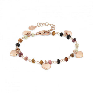 Bracciale Donna Acciaio Mon Amour ed Rainbow Cuore Rose Pietre Dark Mixed Nomination