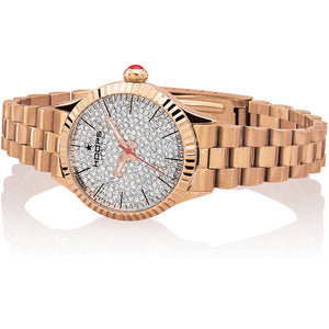 Orologio Donna Luxury Full Diamonds Rose  Gold Hoops