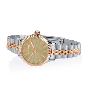 Orologio Donna Luxury Silver & Gold Beige 2560LSRG-04 - Hoops