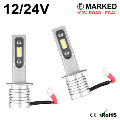 2 x H1 LED Headlight Bulbs - 4000LM