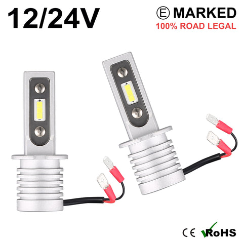 2 x H3 LED Headlight Bulbs - 4000LM
