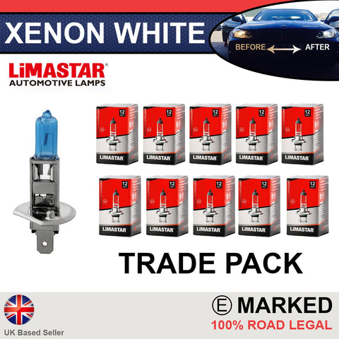 12v H1 448 Limastar Xenon White Halogen Bulbs (10 PACK)