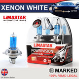 H4 472 55/60w Limastar Xenon White Halogen Bulbs (PAIR)