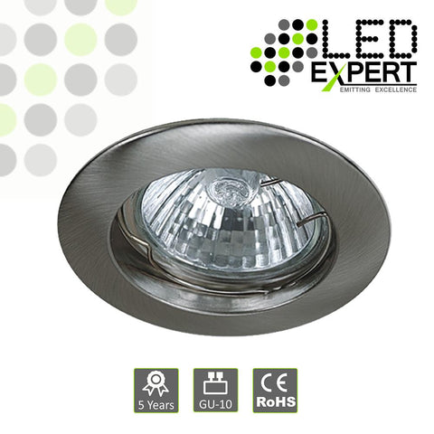White / Nickel Cast GU10 Fixed Downlight