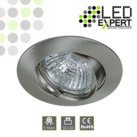 White / Nickel Cast GU10 Tilting Downlight