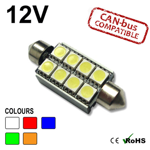 12v 42mm Festoon 8 SMD LED Bulb (canbus)