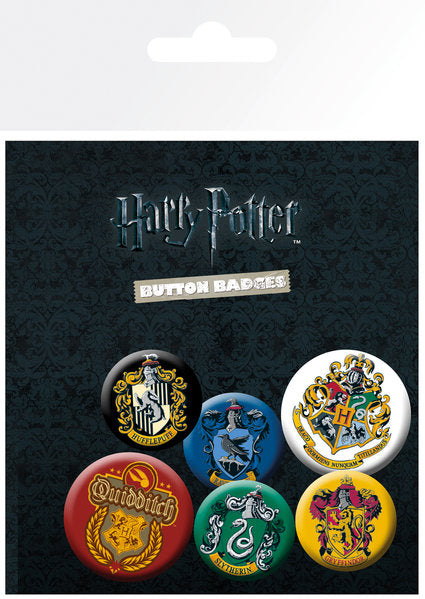 HARRY POTTER - Pack 6 Badges - Crests