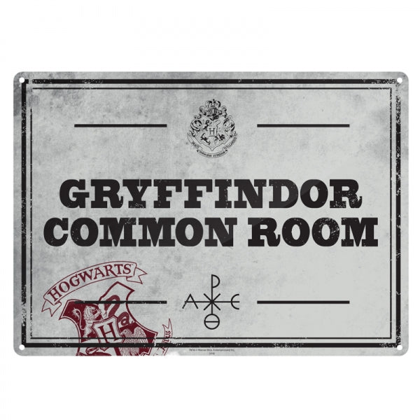 HARRY POTTER - Plaque Metal 21 X 15 - Salle commune gryffondor