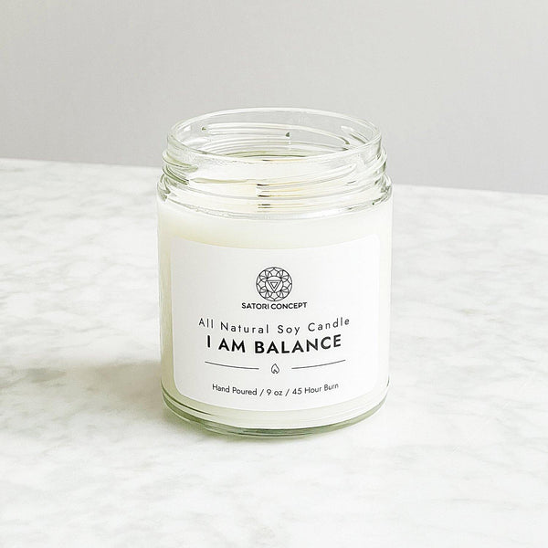 "Soy Candle ""I Am Balance"" - 100% Natural, 9oz, Cashmere, Peppermint, Sandalwood, Coconut and Warm Vanilla - Satori Concept"