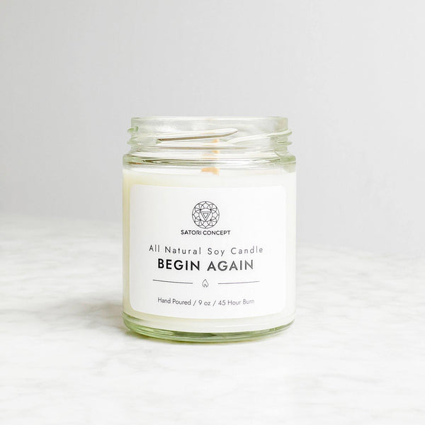 "Soy Candle ""Begin Again"" - 100% Natural, 9oz, Stormy Sea, Ocean Air and Reinvigorating Ozone Scent - Satori Concept"