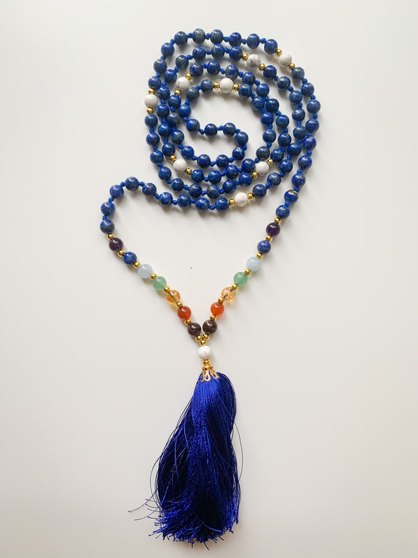 I Trust Myself - Lapis Lazuli & 7 Chakras Mala Necklace - Wisdom, Intuition, Self-awareness