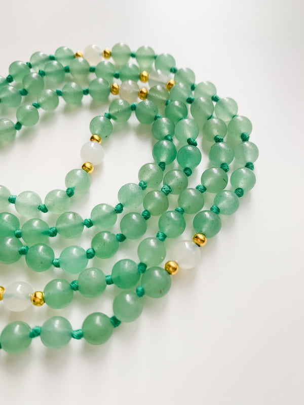 I Am Abundant - Aventurine Mala Necklace