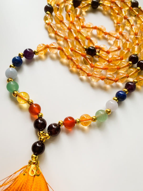 I Am Supported - Citrine & 7 Chakras Mala Necklace - Happiness, Positivity, Abundance