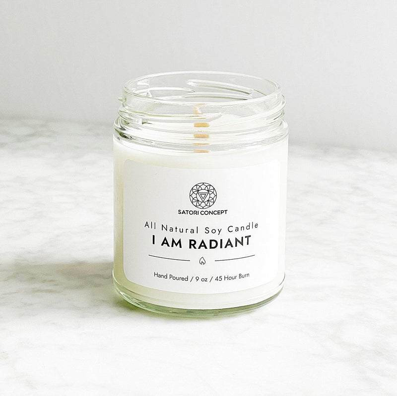 "Soy Candle ""I Am Radiant"" - 100% Natural, 9oz, Fresh Cucumber And Ripe Melon - Satori Concept"