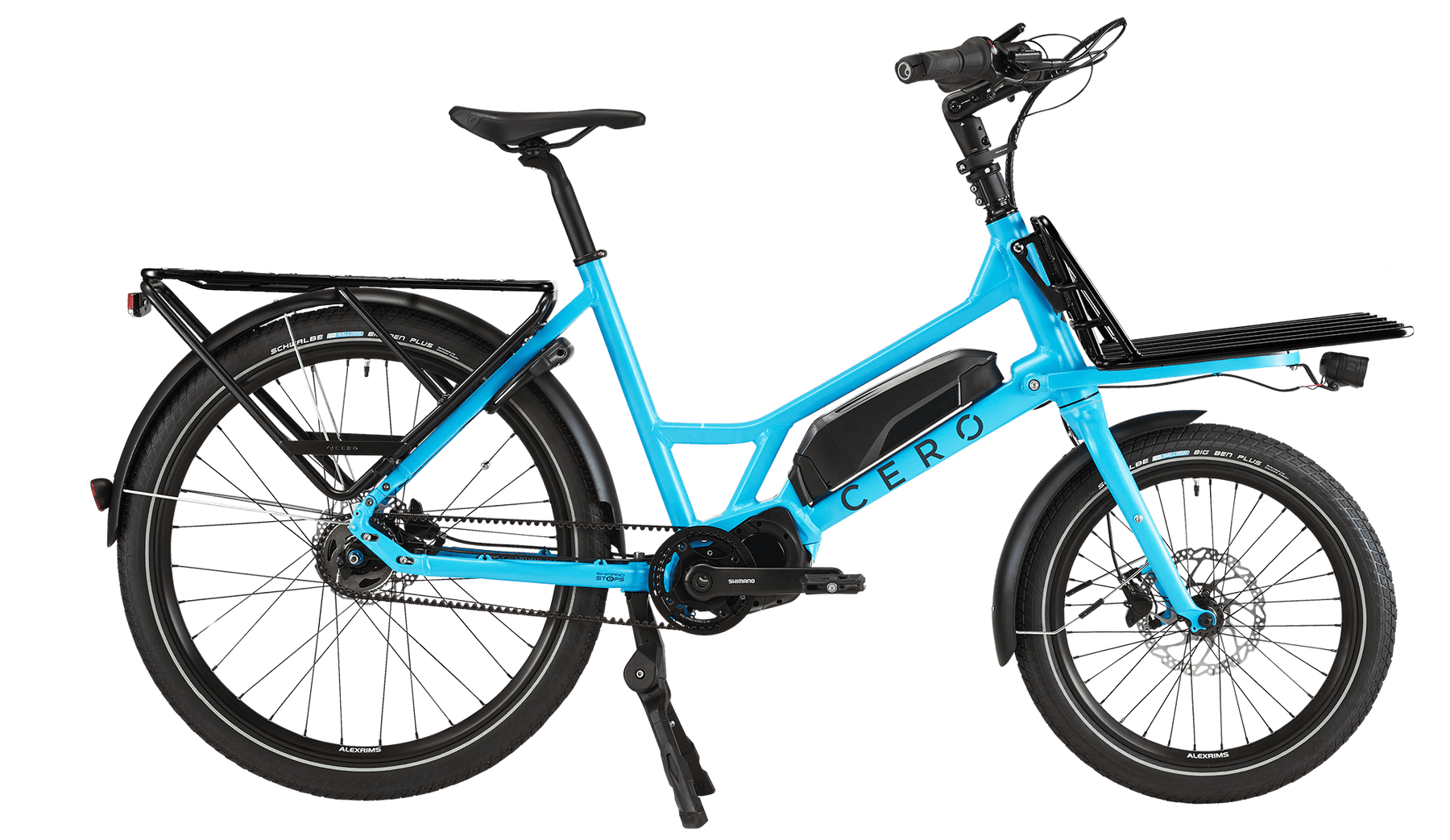 Blue CERO One with a rear rack and Platform on the front
