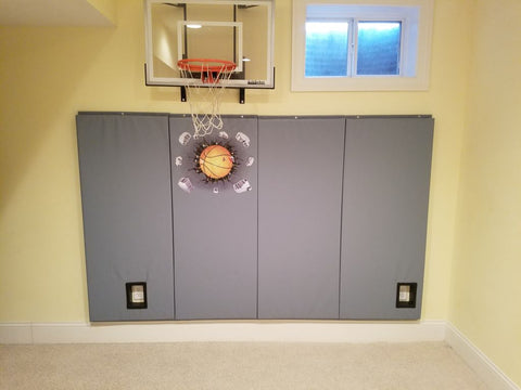 Home Basketball Playroom Safety Pads with DIY Cutout Insert