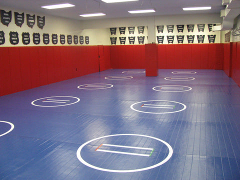 Wrestling room wall pads and floor mat