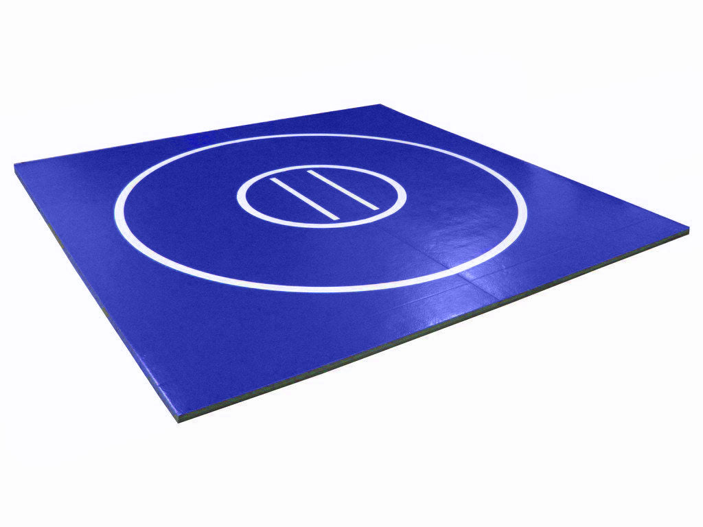8' x 8' wrestling mat blue with white circles