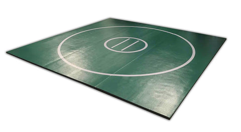 "12' x 12' x 1 3/8"" Forest Green and Gray Roll-Up Wrestling Mat"