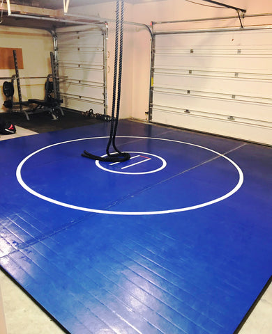 Garage Gym Blue lightweight Wrestling Mat Made in the USA